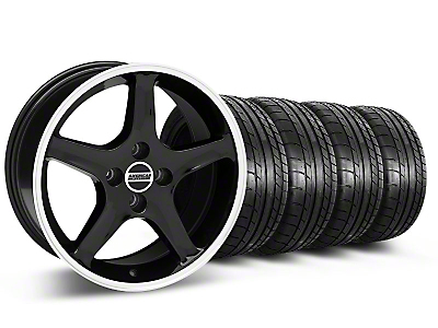 Black w/ Machined Lip 1995 Cobra R Wheel & Mickey Thompson Tire Kit - 17x8 (87-93; Excludes 93 Cobra)