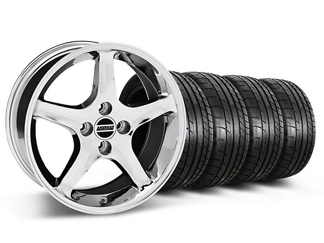 1995 Cobra R Style Chrome Wheel & Mickey Thompson Tire Kit - 17x8 (87-93; Excludes 93 Cobra)