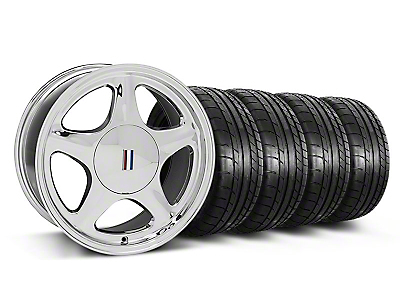 Pony Chrome Wheel & Mickey Thompson Tire Kit - 17x8 (87-93; Excludes 93 Cobra)