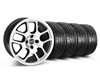 Black Machined 2007 Style GT500 Wheel & Mickey Thompson Tire Kit- 17x9 (87-93; Excludes 93 Cobra)