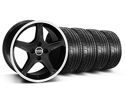 Black w/Machined Lip 1995 Style Cobra R Wheel & Mickey Thompson Tire Kit- 17x9 (87-93; Excludes 93 Cobra)