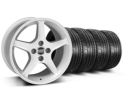 Silver 1995 Style Cobra R Wheel & Mickey Thompson Tire Kit- 17x9 (87-93; Excludes 93 Cobra)