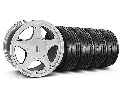 Chrome Pony Style Wheel & Mickey Thompson Tire Kit- 17x9 (87-93; Excludes 93 Cobra)