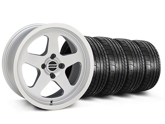 SC Style Silver Wheel & Mickey Thompson Tire Kit - 17x9 (87-93; Excludes 93 Cobra)
