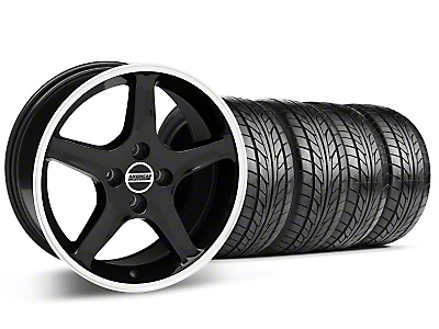 Black w/ Machined Lip 1995 Style Cobra R Wheel & NITTO Tire Kit- 17x8/9 (87-93; Excludes 93 Cobra)