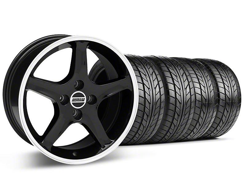 1995 Cobra R Style Black w/ Machined Lip Wheel & NITTO Tire Kit - 17x8/9 (87-93; Excludes 93 Cobra)