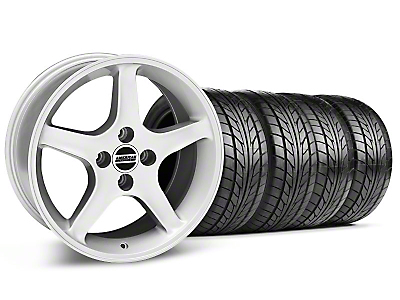 Silver 1995 Style Cobra R Wheel & NITTO Tire Kit- 17x8/9 (87-93; Excludes 93 Cobra)