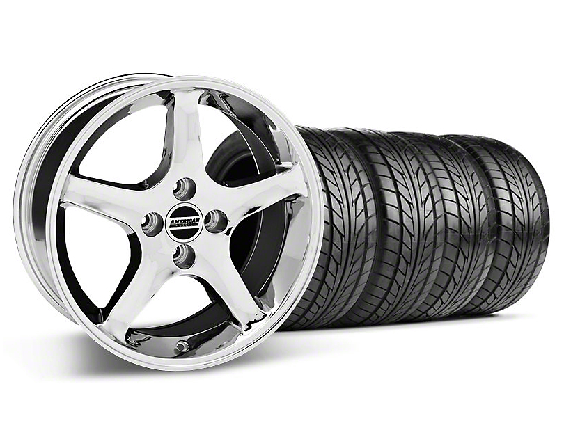 Staggered 1995 Cobra R Style Chrome Wheel & NITTO Tire Kit - 17x8/9 (87-93; Excludes 93 Cobra)