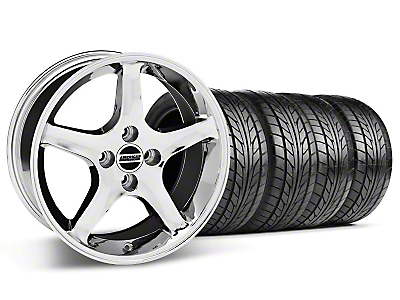 Staggered Chrome 1995 Style Cobra R Wheel & NITTO Tire Kit- 17x8/9 (87-93; Excludes 93 Cobra)