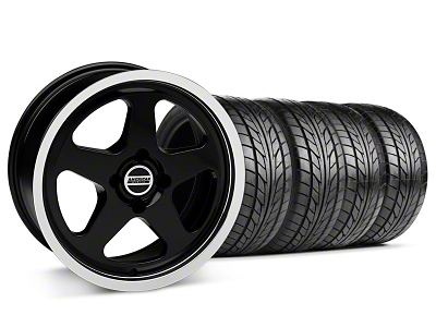 Staggered SC Black Wheel & NITTO Tire Kit - 17x8/10 (87-93; Excludes 93 Cobra)