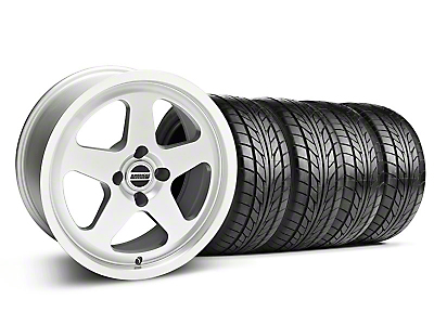 Staggered SC Silver Wheel & NITTO Tire Kit - 17x8/10 (87-93; Excludes 93 Cobra)