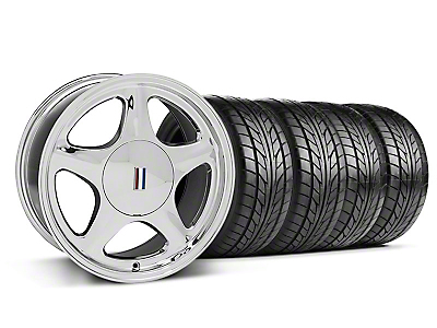 Staggered Pony Chrome Wheel & NITTO Tire Kit - 17x8/10 (87-93; Excludes 93 Cobra)