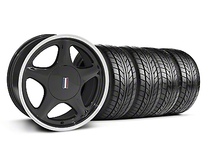 Staggered Black w/Machined Lip Pony Style Wheel NITTO Tire Kit - 17x8/10 (87-93; Excludes 93 Cobra)