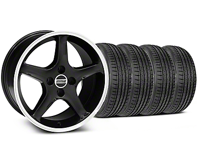 Staggered Black w/ Machined Lip 1995 Style Cobra R Wheel & Sumitomo Tire Kit - 17x8/9 (87-93; Excludes 93 Cobra)