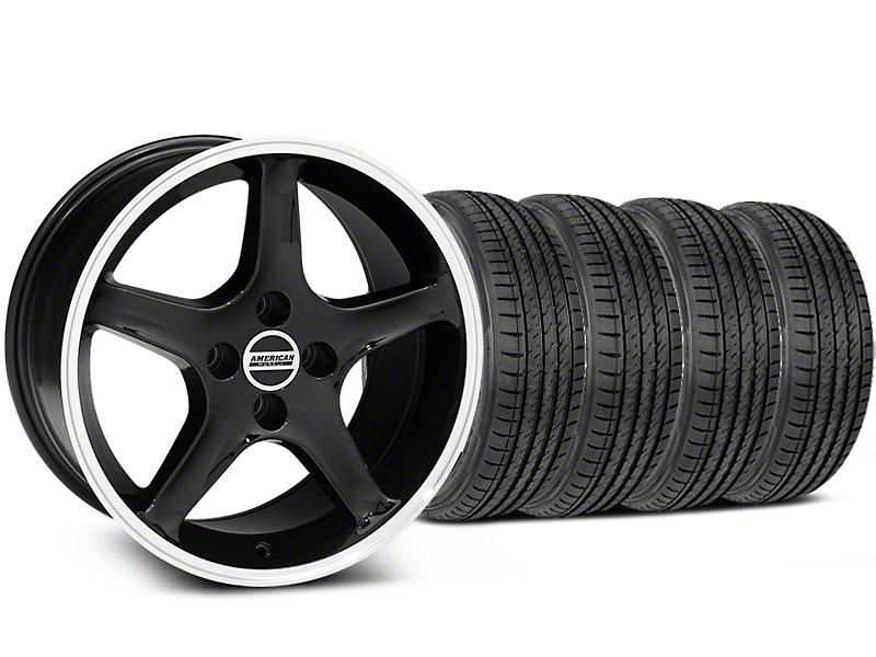 Staggered 1995 Cobra R Style Black w/ Machined Lip Wheel & Sumitomo Tire Kit - 17x8/9 (87-93; Excludes 93 Cobra)