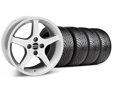Staggered Silver 1995 Style Cobra R Wheel & Sumitomo Tire Kit - 17x8/9 (87-93; Excludes 93 Cobra)