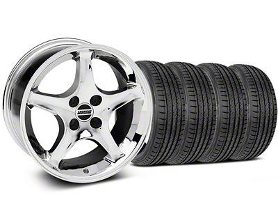 Staggered 1995 Cobra R Style Chrome Wheel & Sumitomo Tire Kit - 17x8/9 (87-93; Excludes 93 Cobra)