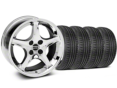 Staggered Chrome 1995 Style Cobra R Wheel & Sumitomo Tire Kit - 17x8/9 (87-93; Excludes 93 Cobra)