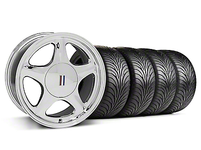 Staggered Chrome Pony Style Wheel & Sumitomo Tire Kit - 17x8/10(87-93; Excludes 93 Cobra)