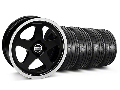 Staggered SC Black Wheel & Mickey Thompson Tire Kit - 17x8/9 (87-93; Excludes 93 Cobra)