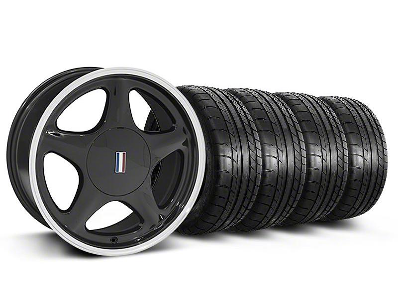 Staggered Pony Black w/Machined Lip Wheel & Mickey Thompson Tire Kit - 17x8/9 (87-93; Excludes 93 Cobra)