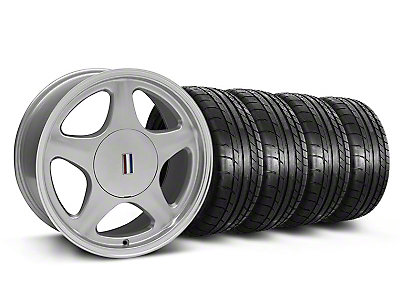 Staggered Silver w/Machined Lip Pony Style Wheel & Mickey Thompson Tire Kit- 17x8/9 (87-93; Excludes 93 Cobra)