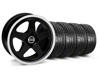 Staggered SC Black Wheel & Mickey Thompson Tire Kit - 17x8/10 (87-93; Excludes 93 Cobra)