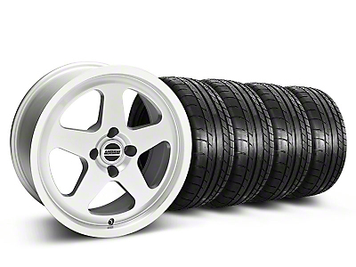 Staggered Silver SC Style Wheel & Mickey Thompson Tire Kit- 17x8/10 (87-93; Excludes 93 Cobra)