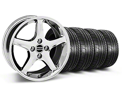 Staggered 1995 Cobra R Style Chrome Wheel & Mickey Thompson Tire Kit - 17x8/10 (87-93; Excludes 93 Cobra)