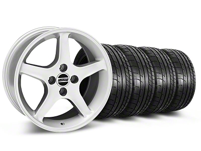 Staggered 1995 Cobra R Style Silver Wheel & Mickey Thompson Tire Kit - 17x8/10 (87-93; Excludes 93 Cobra)