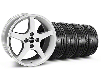 Staggered Silver 1995 Style Cobra R Wheel & Mickey Thompson Tire Kit - 17x8/10 (87-93; Excludes 93 Cobra)