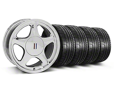 Staggered Chrome Pony Style Wheel & Mickey Thompson Tire Kit - 17x8/10 (87-93; Excludes 93 Cobra)