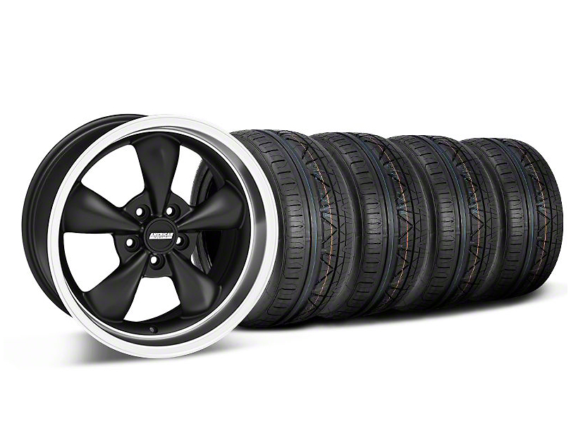 Bullitt Deep Dish Matte Black Wheel & NITTO INVO Tire Kit - 18x9 (05-14 GT, V6)