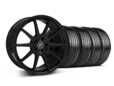 Piano Black Forgestar CF10 Monoblock Wheel & Pirelli Tire Kit - 19x9 (05-14 All)