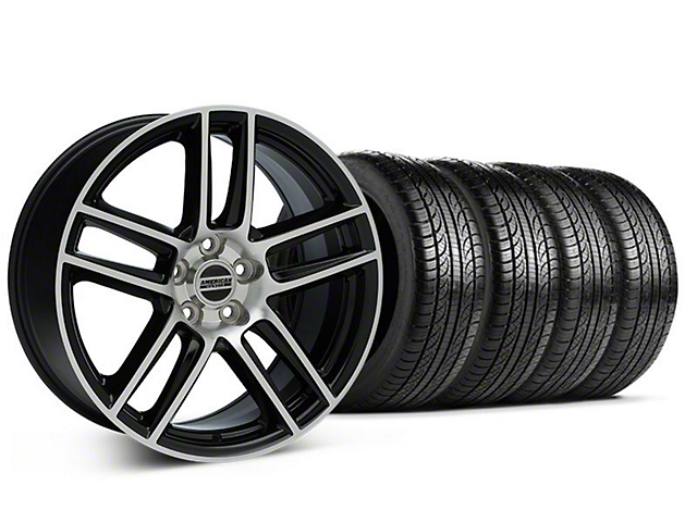 Laguna Seca Style Black Machined Wheel & Pirelli Tire Kit - 19x9 (05-14 All)