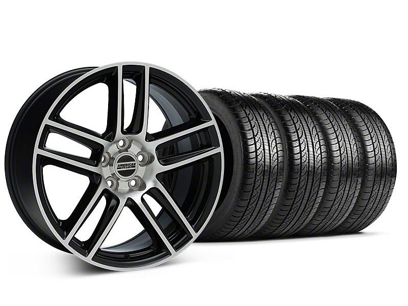 Laguna Seca Style Black Machined Wheel & Pirelli Tire Kit - 19x9 (05-14 All)