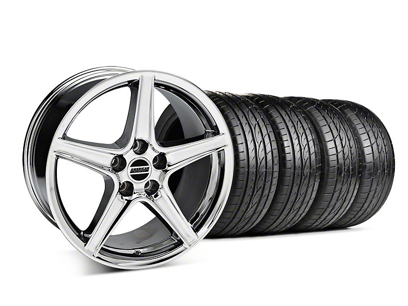 Saleen Style Chrome Wheel & Sumitomo Tire Kit - 19x8.5 (05-14 GT, V6)