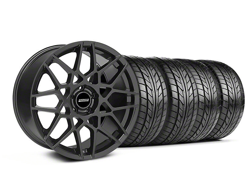 Staggered 2013 GT500 Style Charcoal Wheel & NITTO Tire Kit - 18x9/10 (05-14 All)