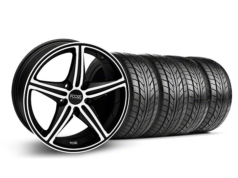 Staggered Foose Speed Black Machined Wheel & NITTO Tire Kit - 18x8/9.5 (05-14 All, Excluding GT500)