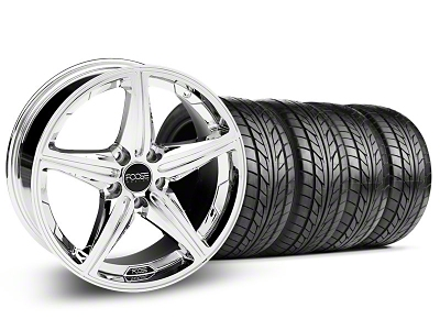 Foose Staggered Speed Chrome Wheel & NITTO Tire Kit - 18x8/9.5 (05-14 All, Excluding GT500)