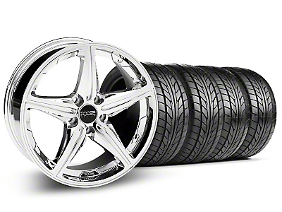 Staggered Chrome Foose Speed Wheel & NITTO Tire Kit - 18x8/9.5 (05-14 All, Excluding GT500)