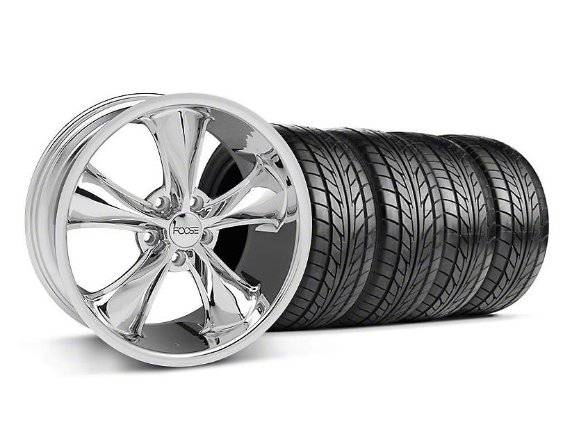 Staggered Foose Legend Chrome Wheel & NITTO Tire Kit - 18x8.5/9.5 (05-09 GT, V6)