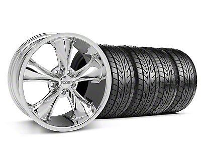 Foose Staggered Legend Chrome Wheel & NITTO Tire Kit - 18x8.5/9.5 (05-09 GT, V6)