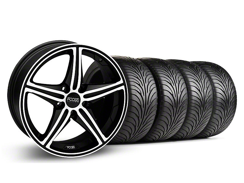Foose Staggered Speed Black Machined Wheel & Sumitomo Tire Kit - 18x8/9.5 (05-14 All, Excluding GT500)