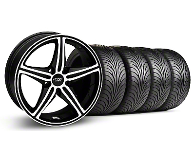 Staggered Black Machined Foose Speed Wheel & Sumitomo Tire Kit - 18x8/9.5 (05-14 All, Excluding GT500)