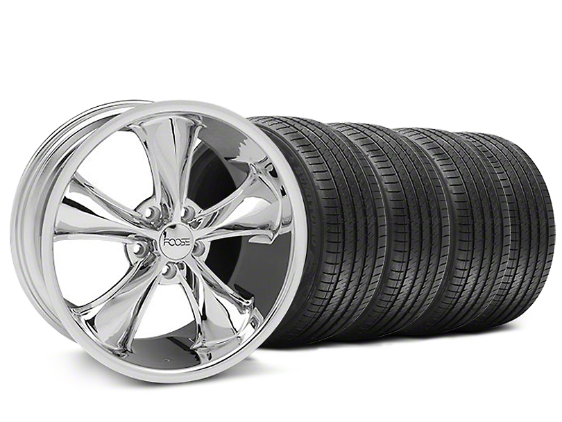 Staggered Foose Legend Chrome Wheel & Sumitomo Tire Kit - 18x8.5/9.5 (05-09 GT, V6)