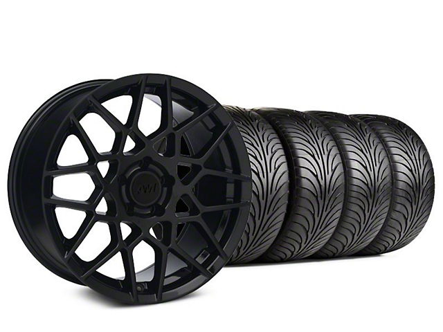 Staggered 2013 GT500 Style Gloss Black Wheel & Sumitomo Tire Kit - 18x9/10 (05-14 All)