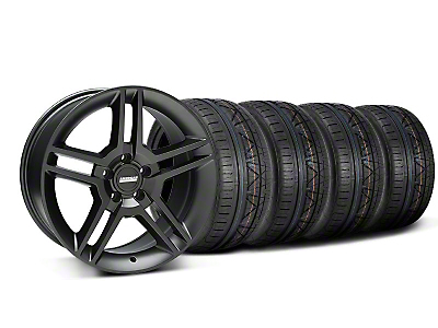 Staggered 2010 GT500 Style Matte Black Wheel & NITTO INVO Tire Kit - 18x9/10 (05-14 All)
