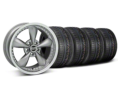Staggered Bullitt Motorsport Anthracite Wheel & NITTO INVO Tire Kit - 18x9/10 (05-14 GT, V6)