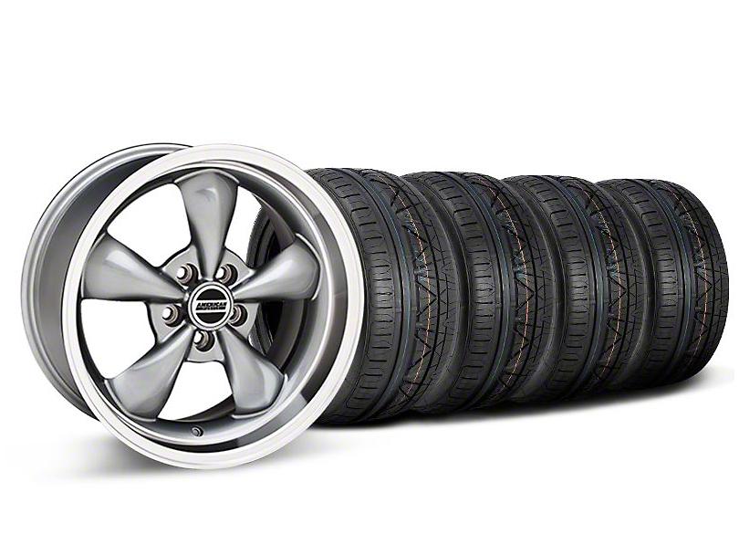 Staggered Deep Dish Bullitt Anthracite Wheel & NITTO INVO Tire Kit - 18x9/10 (05-10 GT; 05-14 V6)